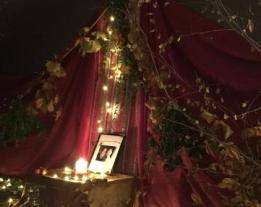 shrine with picture of Maeve and Sorley